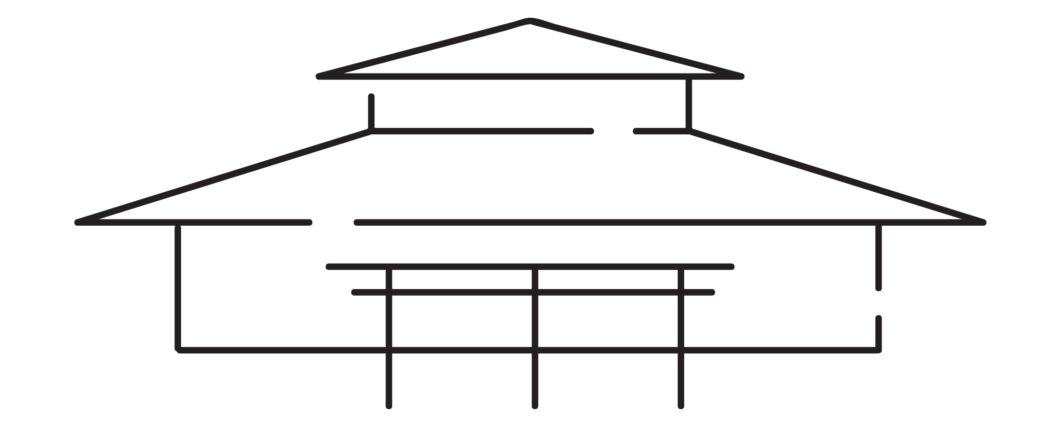wireframe depiction of the asian & pacific cultural center building
