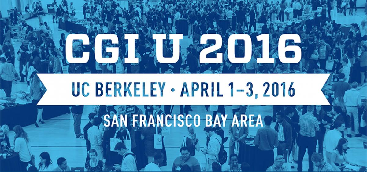 Banner announcing the 2016 CGI U location at UC Berkeley.