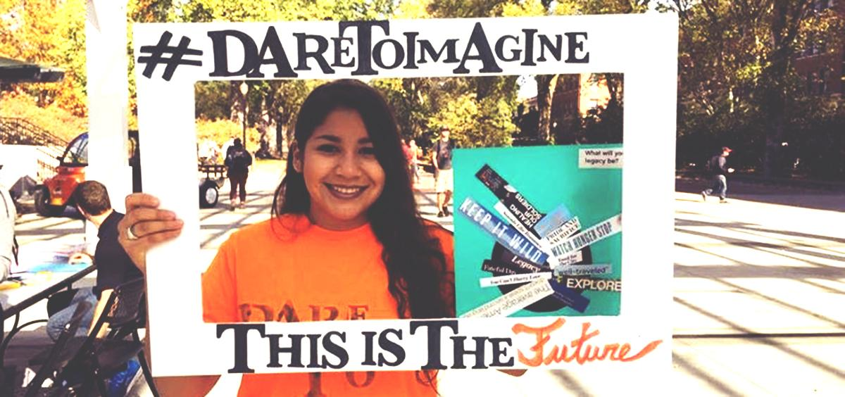 Oregon State student, Laura Galindo, sharing her #DareToImagine drawing.