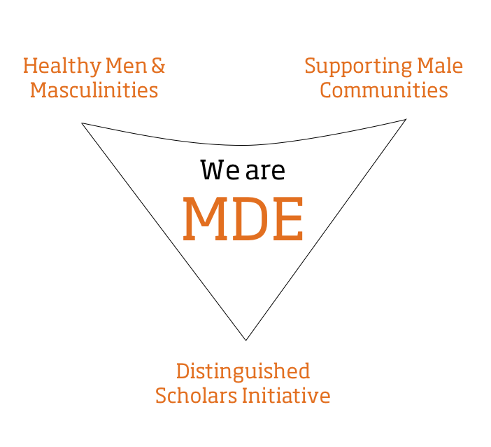 """We Are MDE"" logo with a triangle around it, each point of the triangle says: Healthy Mens & Masculinities; Supporting Male Communities; Distinguished Scholars Initiative"